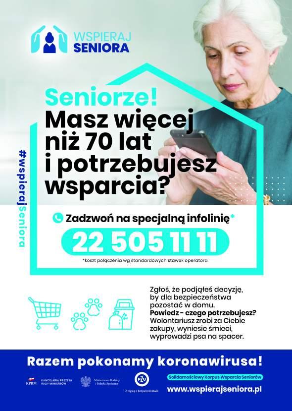 Plakt informujący o programie Wspieraj Seniora